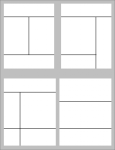 four white boxes are arranged in a square. Each white box is divided into sections