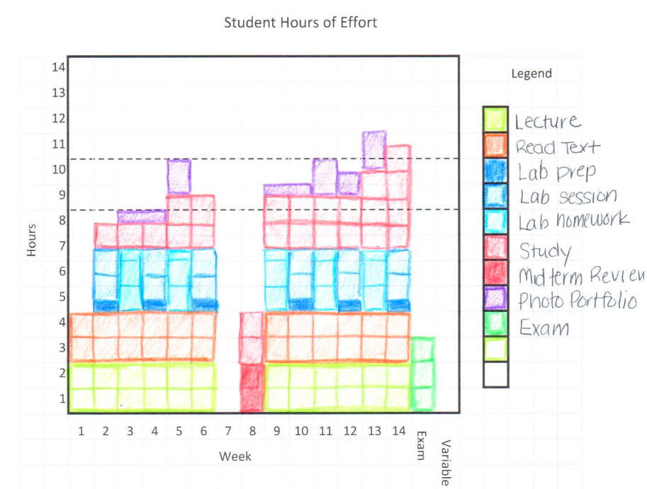 A bar graph indicating how students should spend their time in a 14 week course using a hand out and coloured pencils